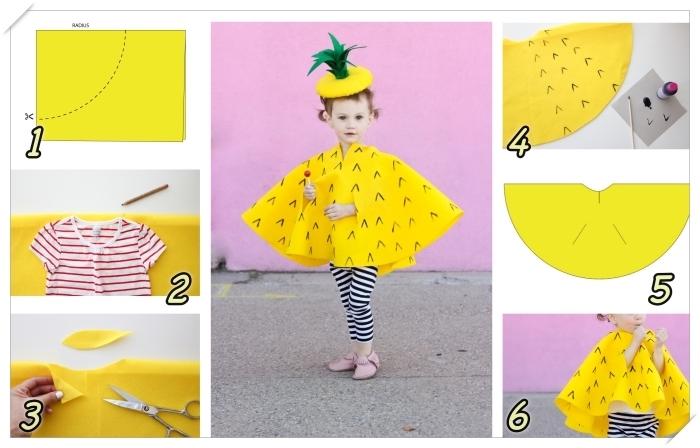 comment faire un costume pour enfant, exemple de deguisement d halloween a faire soi meme en tissu feutre jaune