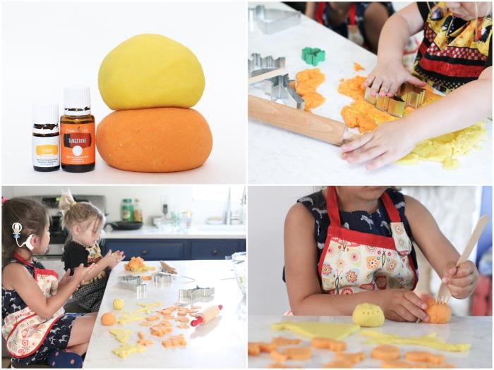 atelier créatif en été avec de la pate à modeler maison sans cuisson, parfumée aux agrumes et colorée en jaune et orange