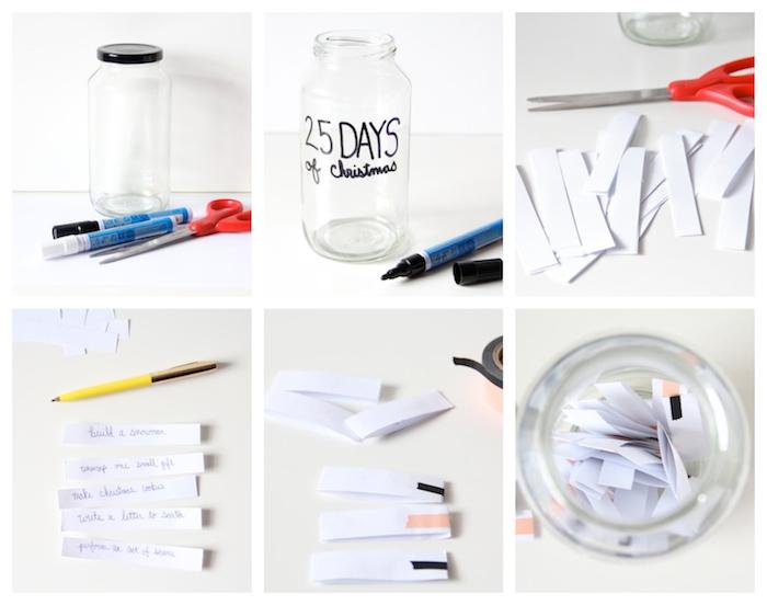 calendrier de l avent personnalisé avec des activités en famille écrites sur bande papier dans un bocal en verre