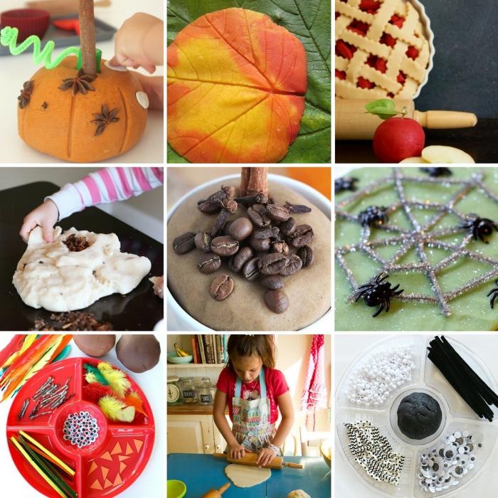 jeux de pâte à modeler et activités de modelage sur le thème d'automne et de la fête d'halloween pour développer la créativité des enfants