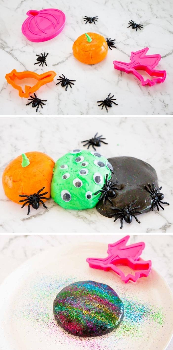 atelier de modelage avec de la pâte à modeler faite-maison sur le thème d'halloween, des pâtes malléables colorées en orange, vert, noir et couleurs galaxie