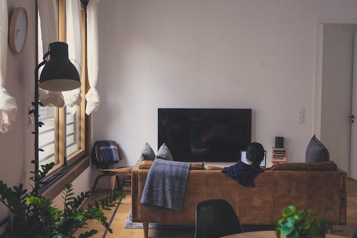 canapé marron en face d'un grand tv, murs blancs, mobilier en bois, sol au parquet clair, plantes d intérieur vertes, comment bien choisir sa télévision