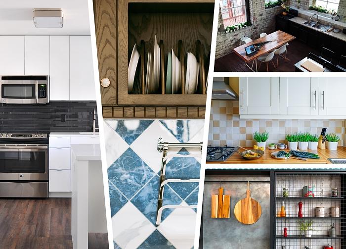 idée comment aménager une cuisine contemporaine, astuce rangement espace limité dans une cuisine avec crédence carrelage