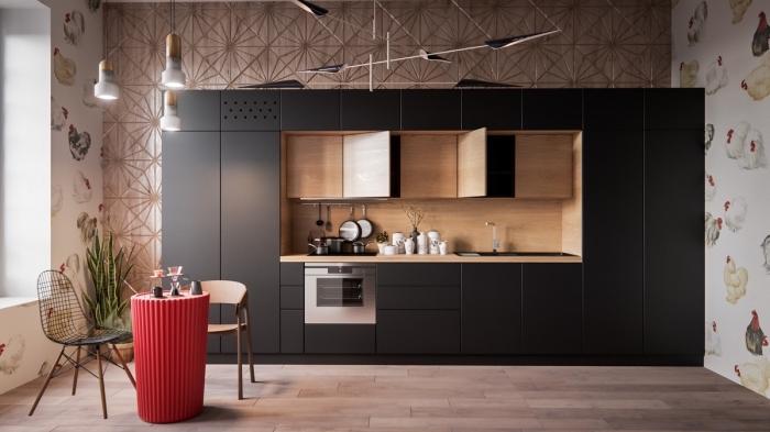 comment creer sa cuisine en longueur, modèle de cuisine tendance contemporaine avec meubles en noir et crédence bois