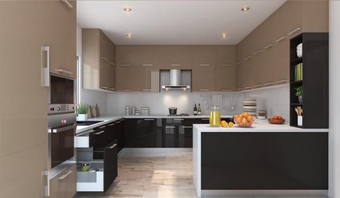 déco de cuisine en couleurs neutres et bois, exemple de cuisine aménagée en forme G, meubles cuisine en noir