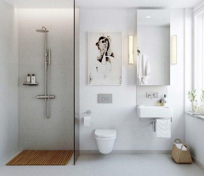 aménager salle de bain ouverte carré avec coin douche à l italienne séparée wc suspendus et murs blancs sol gris béton style moderne minimaliste scandinave