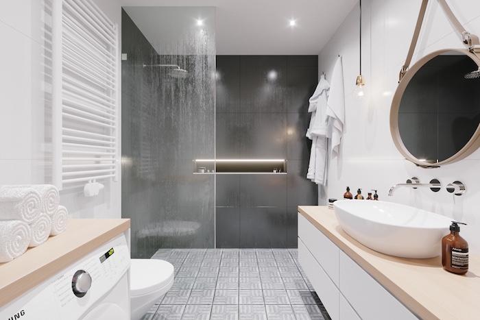 meuble vasque salle de bain design style scandinave minimaliste dans salle de bain avec douche italienne avec mur carrelage gris