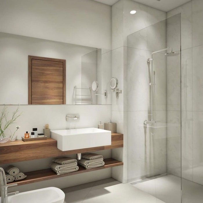 idee deco salle de bain avec douche italienne et meuble support en bois avec vasque carré design