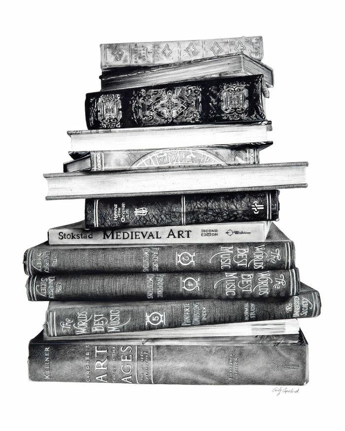 Faire un dessin nature mort original, dessin au fusain livres antiques, dessin pour maîtriser ses compétences