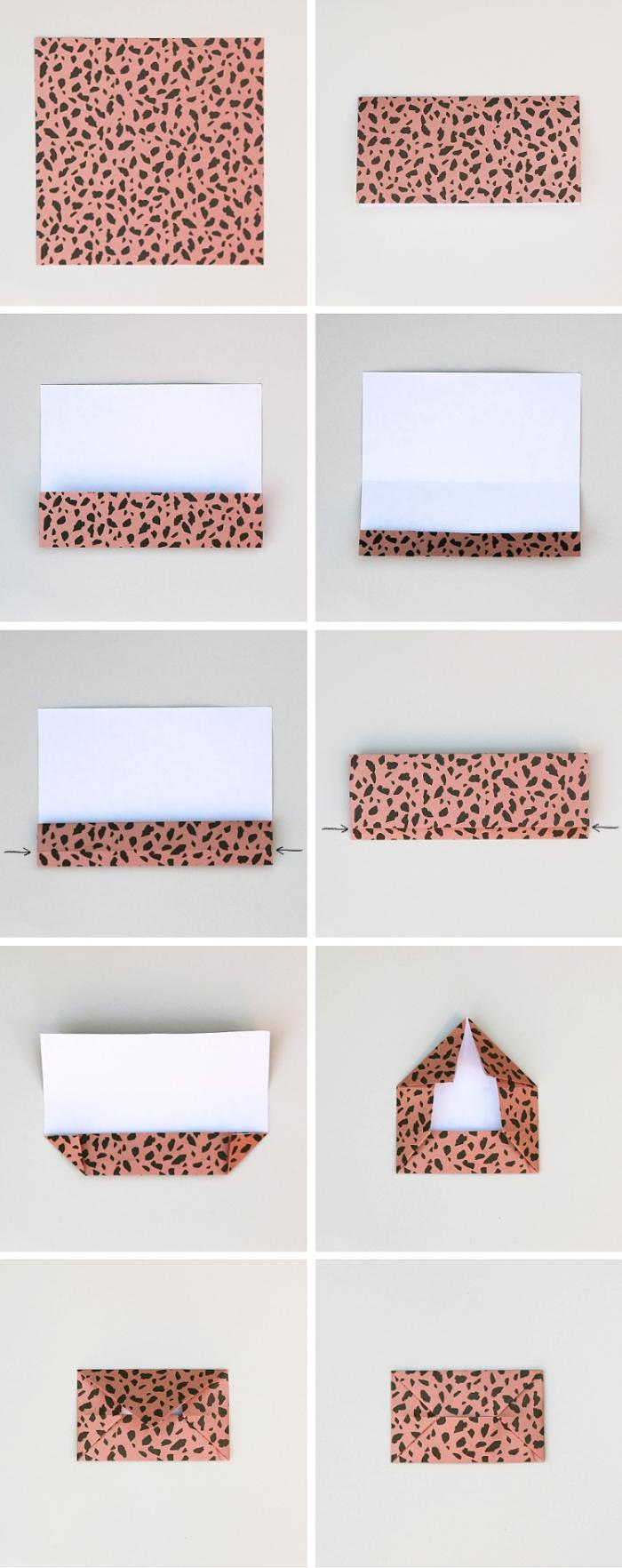 explications détaillés pour réaliser une enveloppe en origami facile en papier imprimé terrazzo couleur terracotta