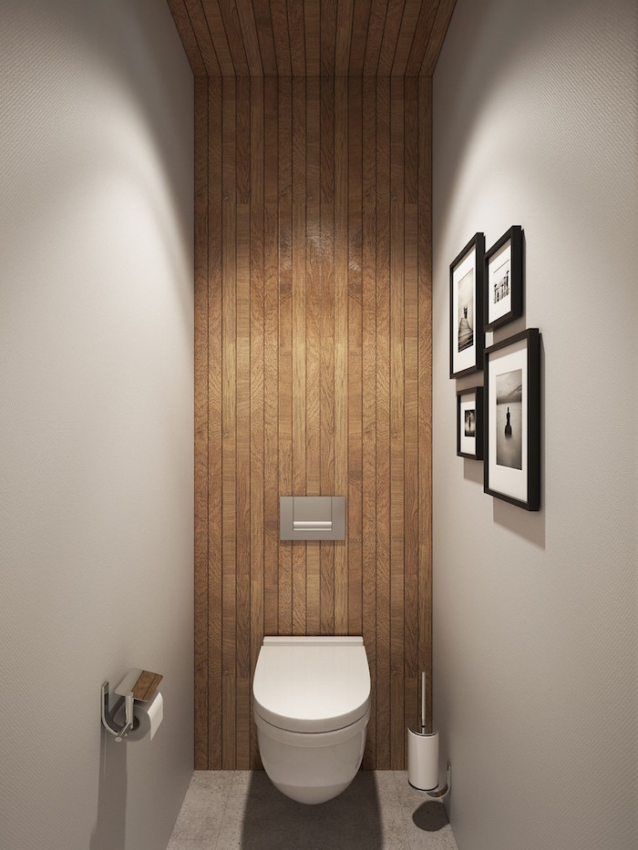 déco toilettes design avec murs gris béton ciré et mur en parquet bois de wc suspendus