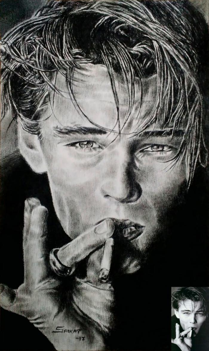 Dessin a dessiner, Leonardo DiCaprio dessin noir et blanc maître, dessins à créer sur un papier