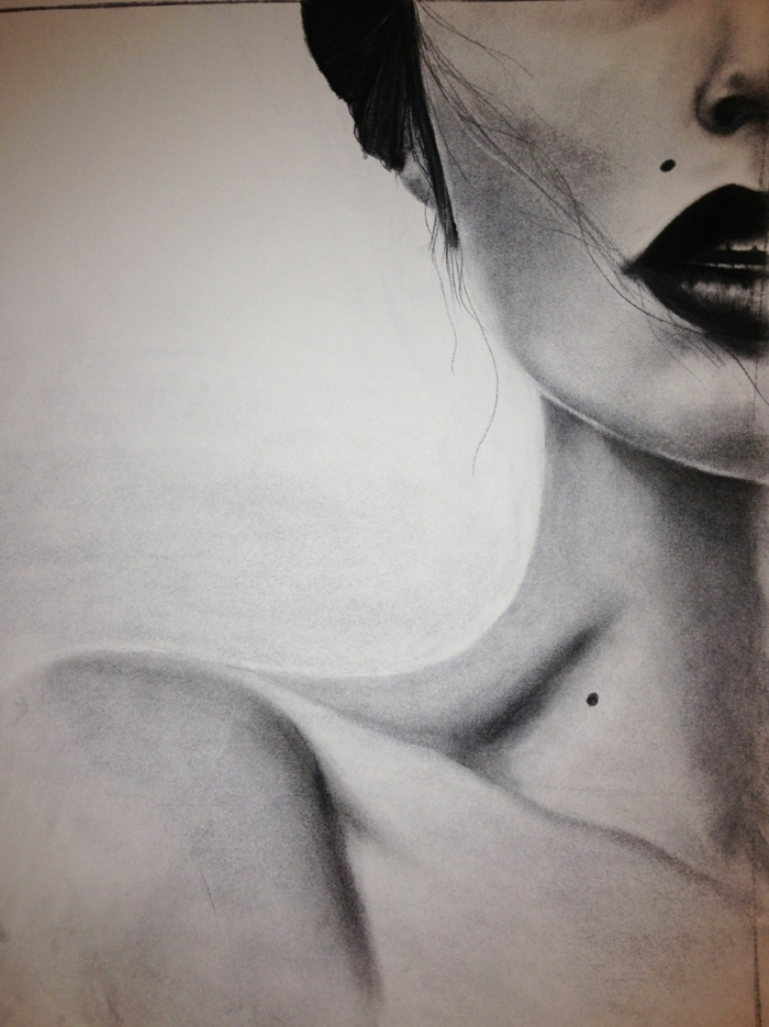Faire un beau dessin facile a reproduire, dessin noir et blanc facile et beau, collarbone femme