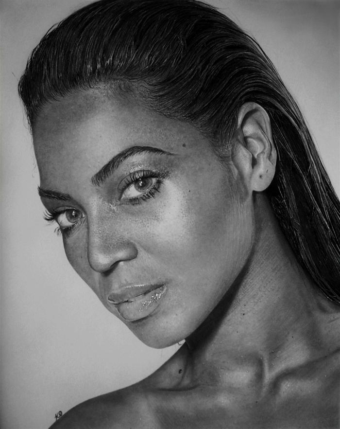 Beyoncé portrait au fusain, cool dessin pour les maîtres de fusain, détails de visage réalistes, magnifique dessin pour apprendre à dessiner