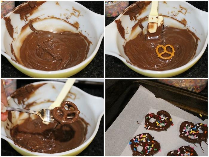 comment faire de bretzels au chocolat avec décoration vermicelles arc en ciel sucrées, recette anniversaire facile