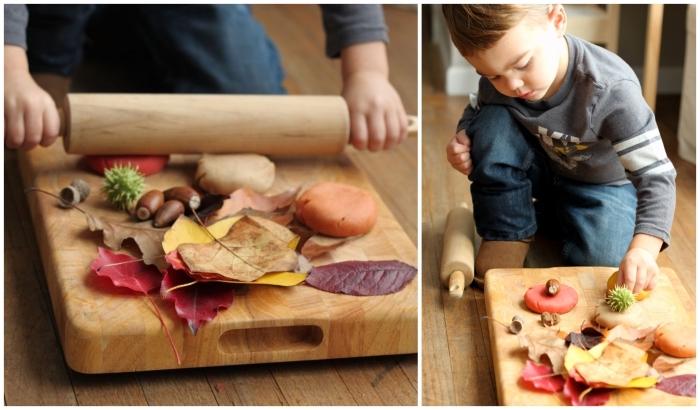 activité manuelle en maternelle pour célébrer l'automne, recette pate a modeler aux couleurs de l'automne que les enfants peuvent décorer avec des éléments naturels
