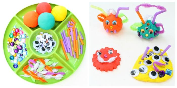 jeux de pâte à modeler ludiques et créatifs pour la fête d'halloween, réaliser de petits monstres en pâte à modeler décorés avec des pailles, fils chenille, yeux mobiles et strass