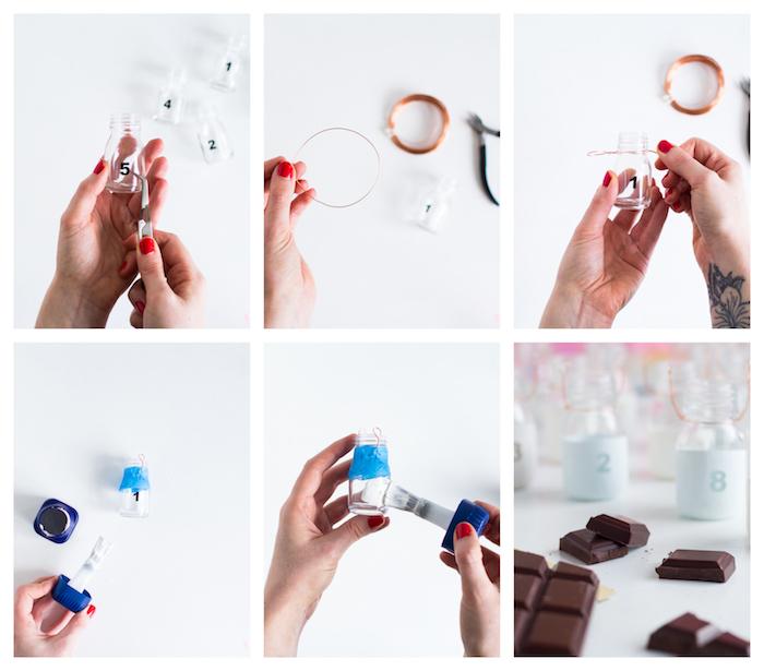 calendrier de l avent chocolat à faire soi meme en petites fioles repeintes aux chiffres avec petites barres chocolatées à l intérieur