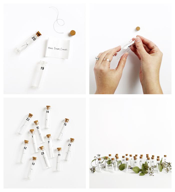calendrier de l avent à fabriquer soi meme en petites fioles avec des étiquettes miniatures style bouteille à la mer scandinave avec végétation décorative