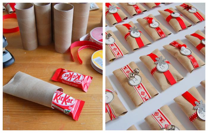 calendrier de l avent rouleau de papier toilette cartonnés et décorés de bande de washi tape noel, petites decorations de noel et gourmandises