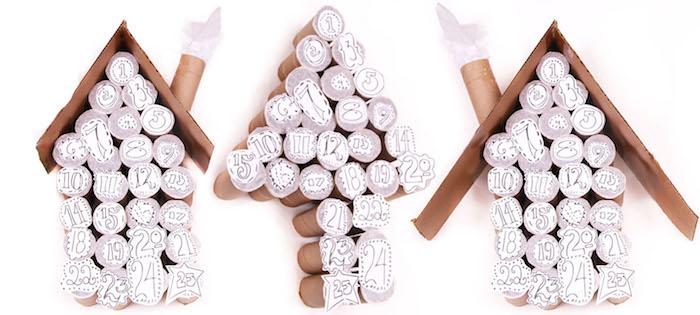 recyclage calendrier de l avent rouleaux de papier toilette avec du couvercle papier en forme de maison avec petits cadeaux cachés