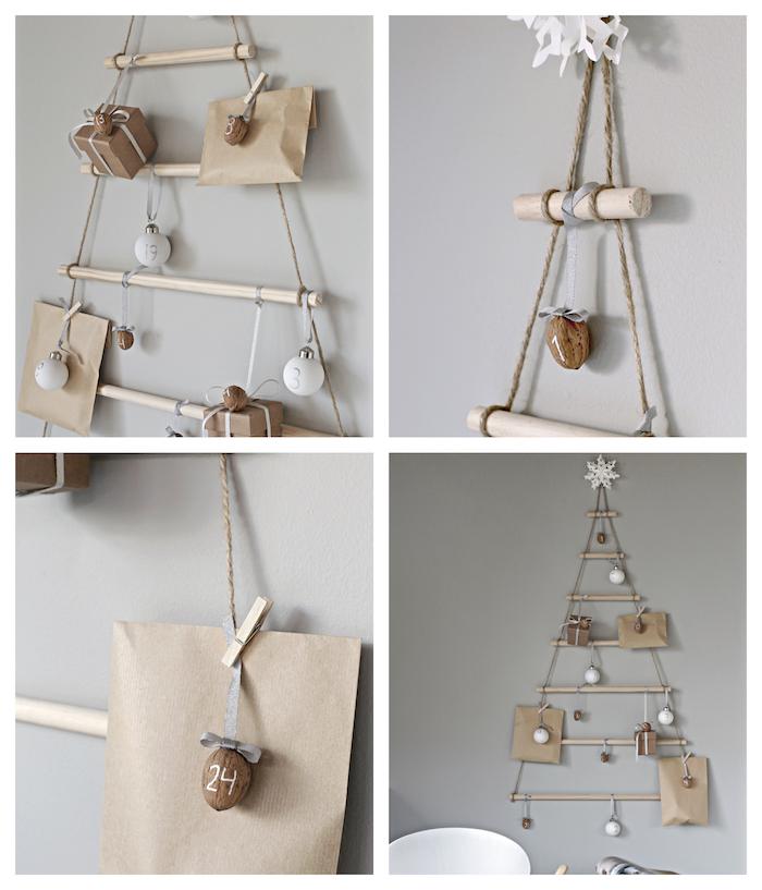 sapin en bois flotté avec des paquets cadeaux et petites décorations accrochées dessus couleur or et argent, calendrier de l avent a faire soi meme