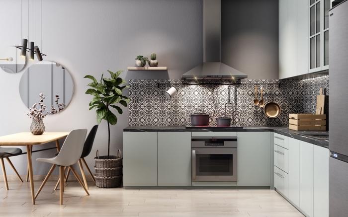 quelle implantation cuisine choisir, idée aménagement de cuisine moderne en forme de L avec coin repas en meubles bois