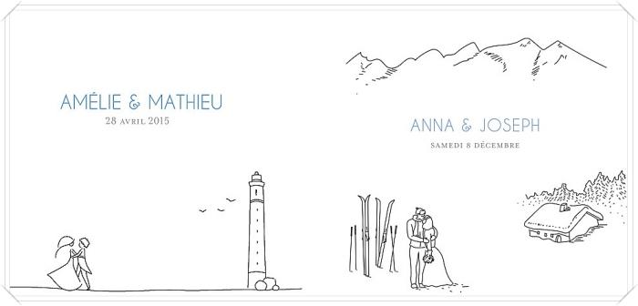 faire part pas cher avec illustration amour, idée invitation mariage original avec dessin couple et prénoms des époux