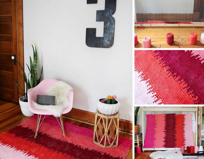 faire un joli tapis de jeu enfant ou déco, modèle de tapis en laine aux nuances rouges, idée déco avec plante verte