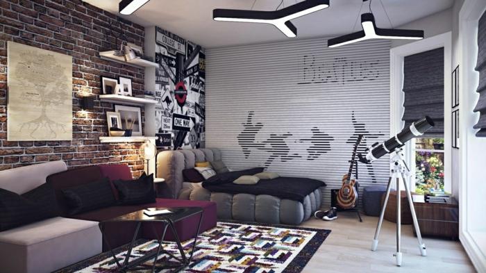 sofa pourpre et gris, tapis motif géométrique, télescope, rideaux bateaux, mur en briques, étagères blanches, poster mural