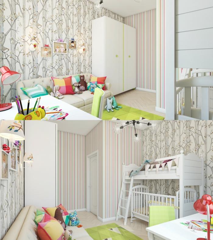 papier peint forêt, armoire blanche, sofa beige et lit mezzanine, tapis vert, coussins colorés, lampe rouge