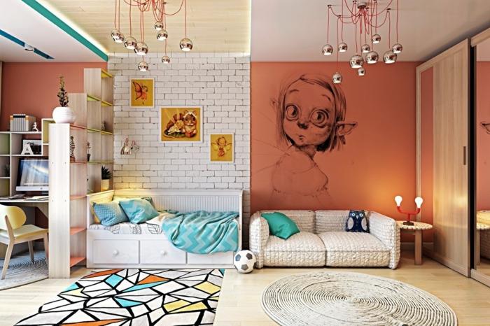 chambre de fille sympathique, lampes pendantes couleur argent, dessin mural, papier peint briques blanches, lit avec rangement, étagère bois et blanc