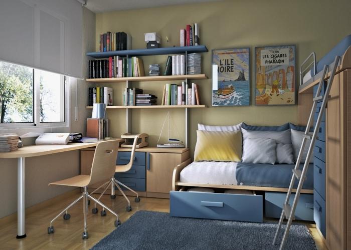 chambre enfant sur petite surface, étagères minimalistes, bureau en bois, pieds métalliques, tapis bleu