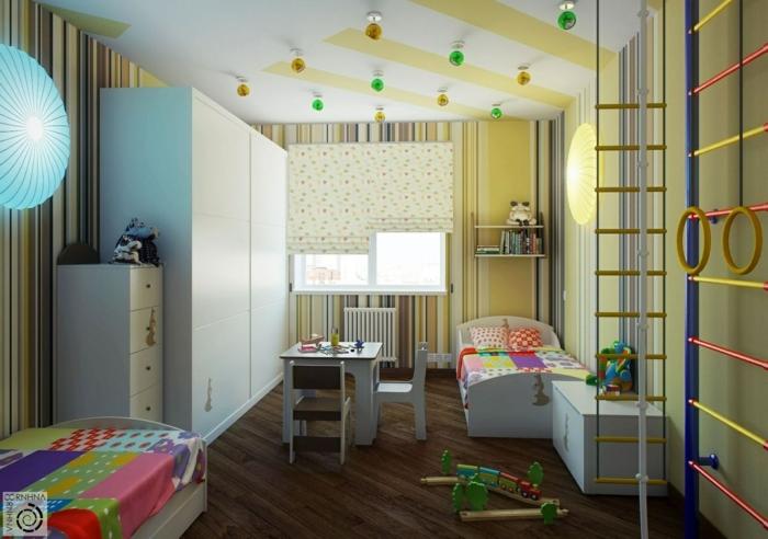 solutions pour les petits espaces, petite chambre d'enfant, échelle gymnastique, meubles blancs, sol foncé