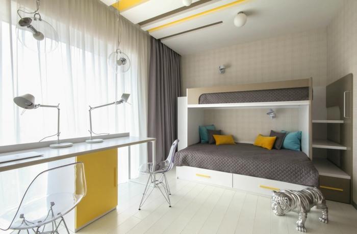 jolie petite chambre en gris et jaune, bureau design industriel, lit en gris et blanc, plafond design