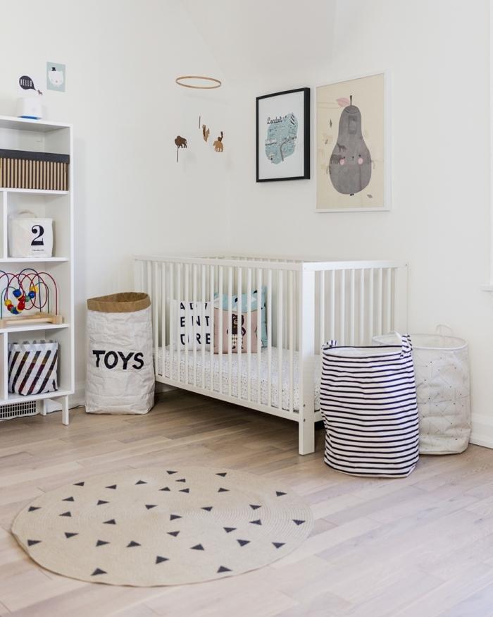 petite chambre d'enfant, paniers à jouets, étagère blanche, paniers à jouets, chambre enfant design scandinave