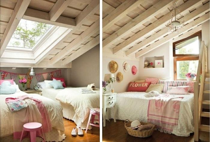 chambre mansardée, deco maison de campagne cosy, poutres couleur crème et fenêtre de toit, tabouret rose, panier rustique