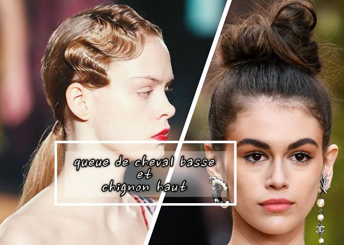 coiffure carré long aux cheveux attachés en messy bun, modèle coiffure chic aux cheveux en chignon haut, exemple coiffure cheveux crantés effet wet
