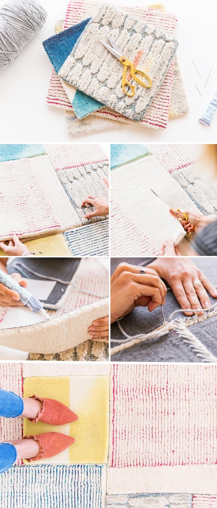 tutoriel pour apprendre comment coudre un tapis à design patchwork aux couleurs pastel, modèle de tapis tissé