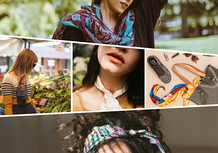 idée comment nouer un foulard sur la tête, accessoires mode femme tendance, porter un foulard en soie autour du cou
