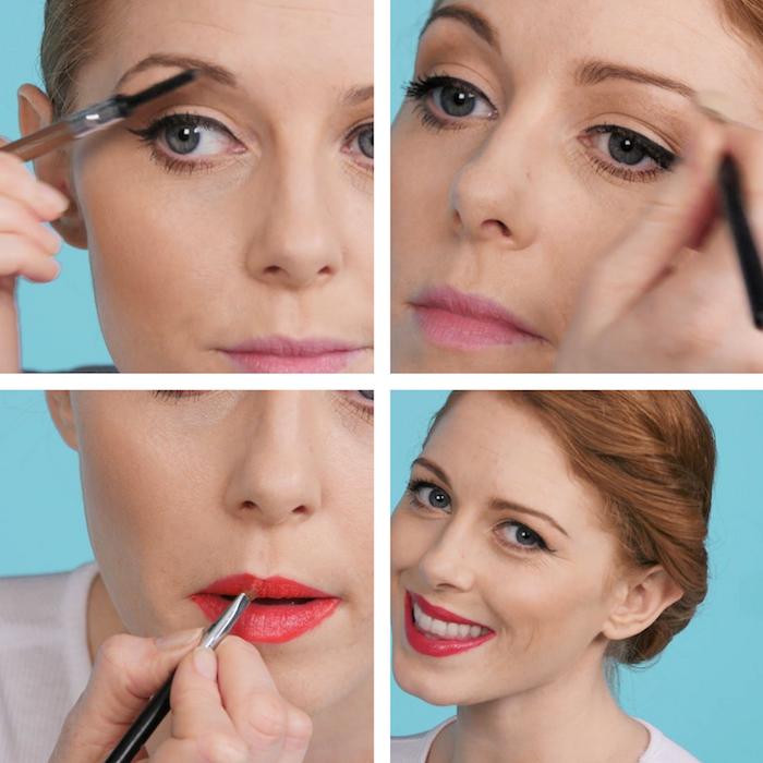 comment avoir les levres rouge comme une pin up des années 50 et maquillage des sourcirls à l'ancienne