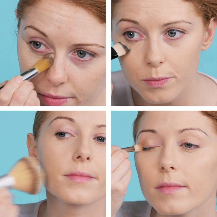 premiere étape tutoriel pour maquillage pin up facile avec fard à paupieres et saupoudrage des joues