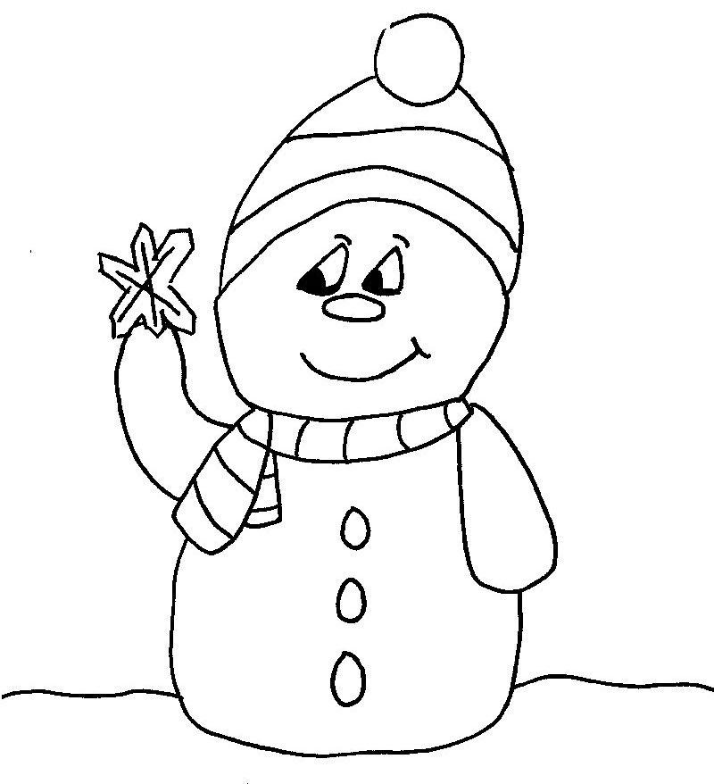 petit dessin simple de bonhomme de neige à colorier décoration de noel pour enfants