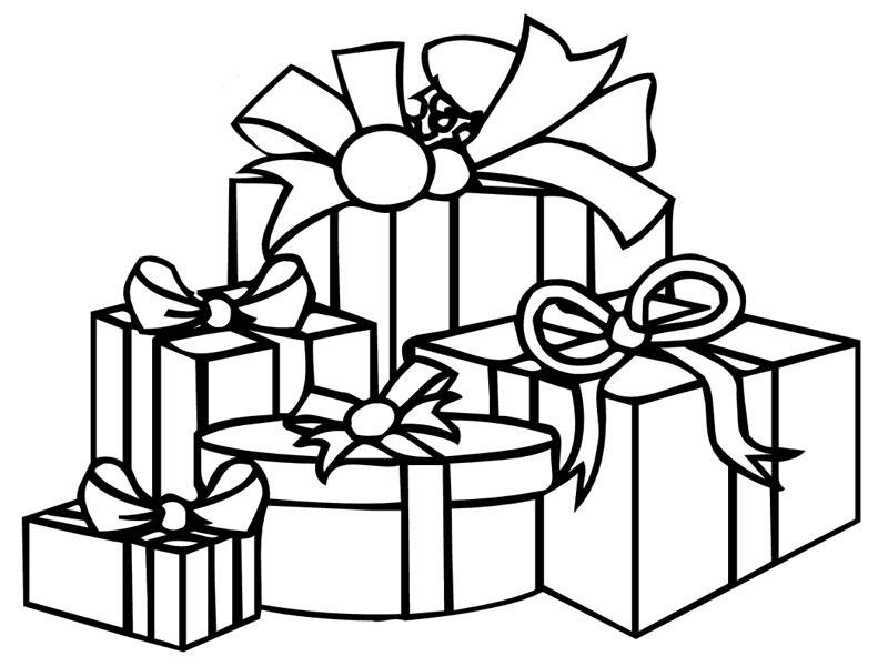 coloriage de noël avec dessins de paquets cadeaux noir et blanc à colorier pour enfants