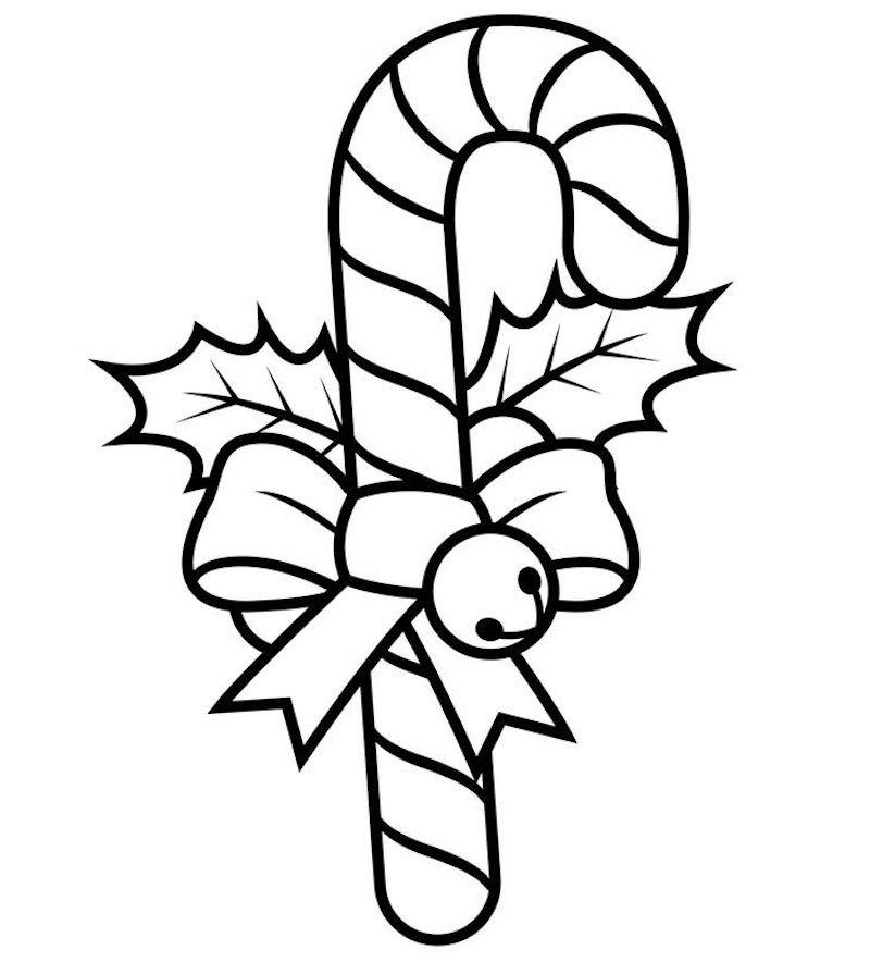 dessin de sucrerie à colorier facilement pour jeunes enfants comme coloriage de noël