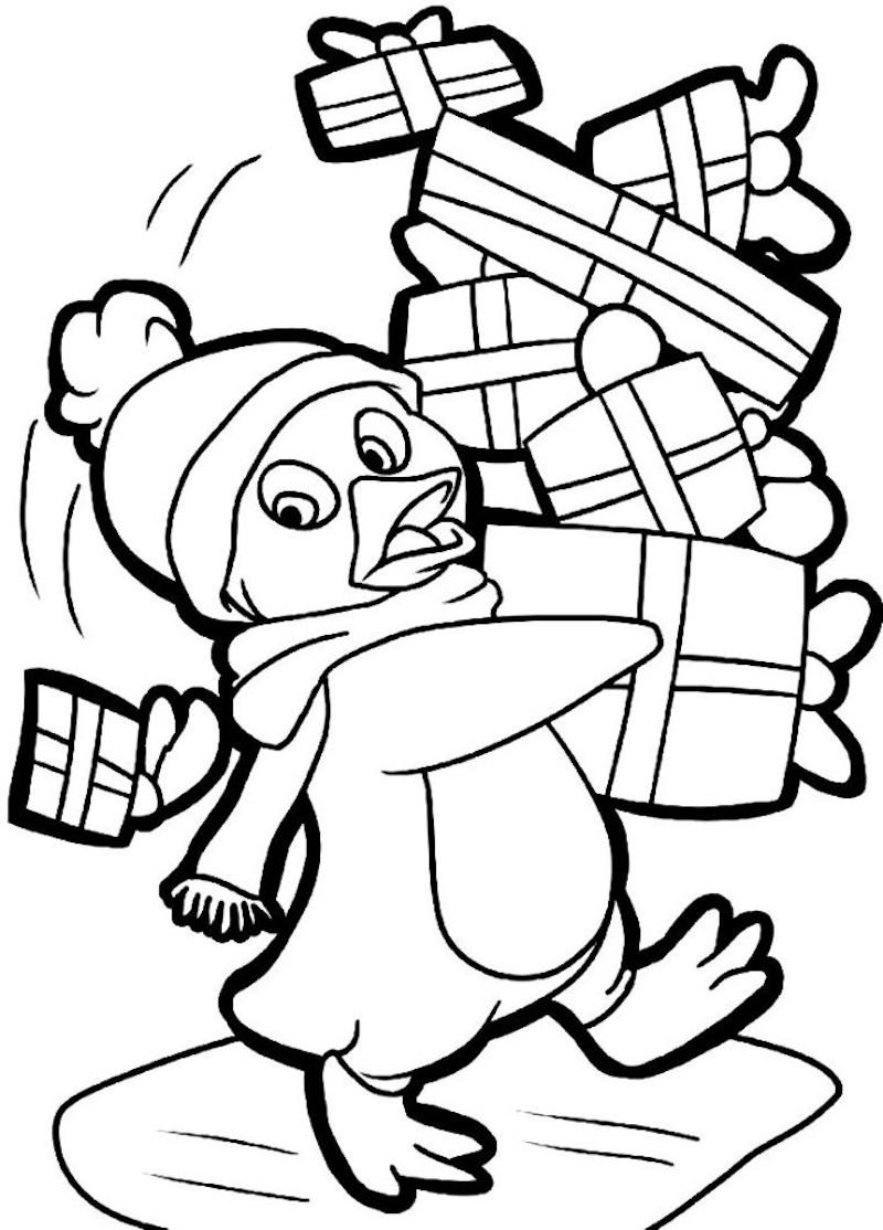 dessin à colorier pour noel dun canard qui porte de nombreux cadeaux à livrer