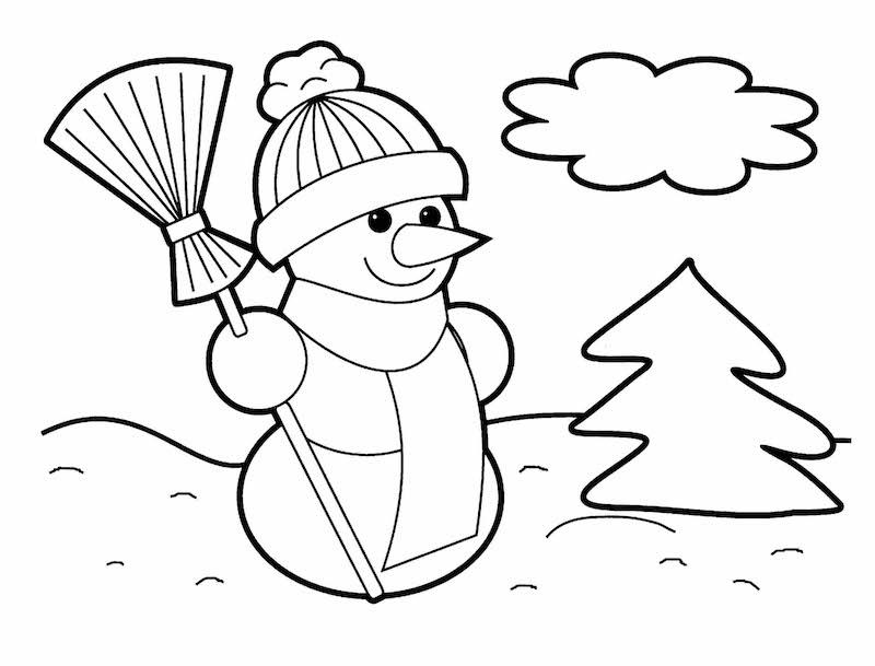 dessin de bonhomme de neige épouvantail pour coloriage de noel facile enfants maternelle