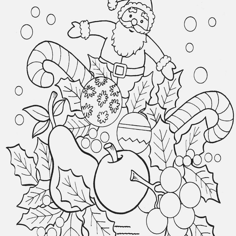 dessin des symboles de noel avec pere noel et friandises et sucreries et nourritures à colorier pour les vacances