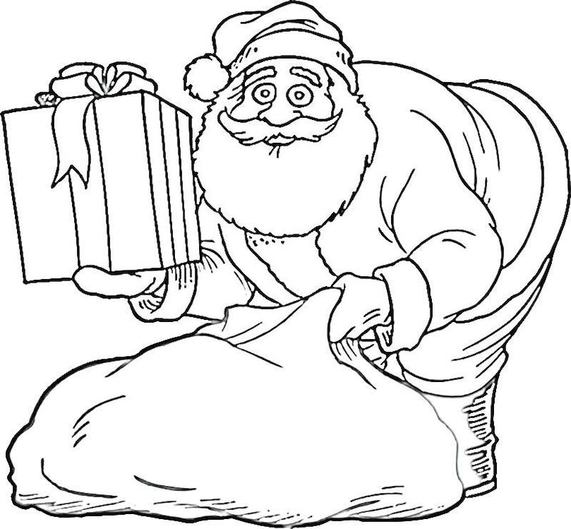 dessin pere noel gentil noir et blanc qui sort un cadeau de sa hotte à colorier