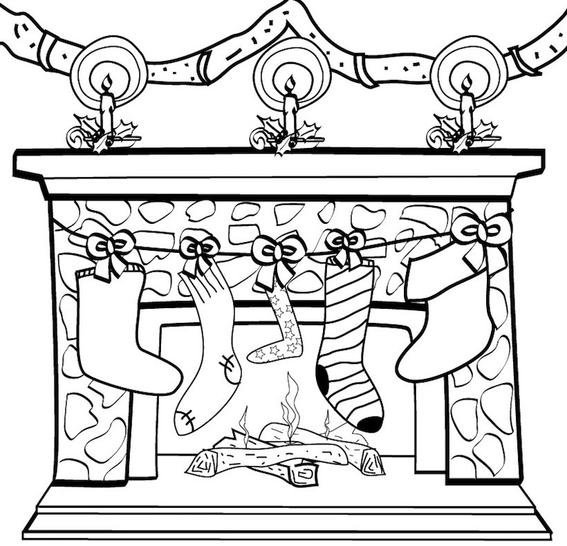 dessin de cheminée avec décoration de noel à colorier avec souliers qui pendent au dessus du feu